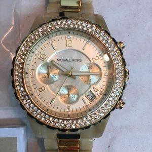 Michael Kors Chronograph Bracelet Watch-Gold & Tan